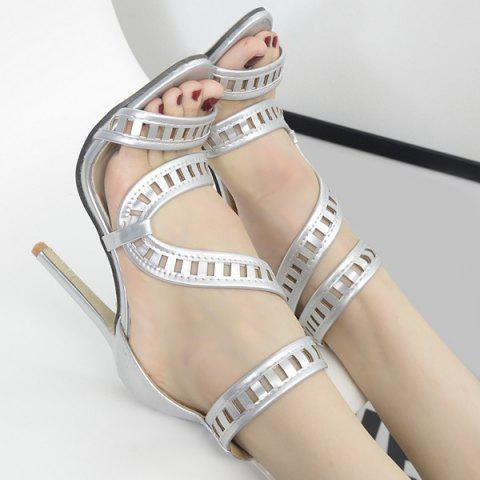 Outfit Zipper Back Stiletto Heel Sandals - 37 SILVER Mobile