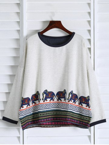 Affordable Oversized Sweatshirt WHITE ONE SIZE