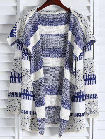 Affordable Casual Open Front Long Sleeve Jacquard Women's Long Cardigan BLUE/WHITE ONE SIZE(FIT SIZE XS TO M)