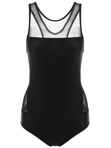 Outfit Mesh Panel High Neck Backless Swimsuit - L BLACK Mobile