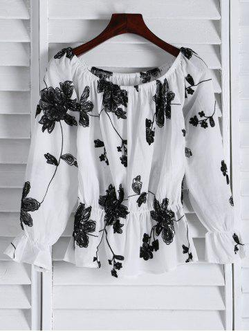 Fashion Floral Embroidered Off The Shoulder Top