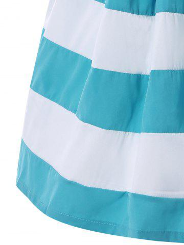 Trendy Strapless Striped Color Block Sleeveless Homecoming Dress - S BLUE AND WHITE Mobile