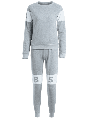 Discount Letter Pattern Sweatshirt With Pants Gym Outfits - L LIGHT GRAY Mobile