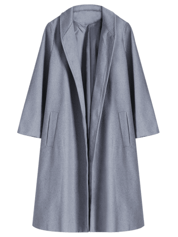 Chic Shawl Neck Gray Wool Blend Coat - L GRAY Mobile