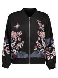 Floral Embroidered Puffed Sleeve Pilot Jacket