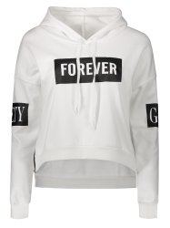 High Low Side Zipper Graphic Patched Short Hoodie - WHITE ONE SIZE