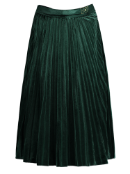 Vintage Velvet Pleated Midi Skirt - GREEN L