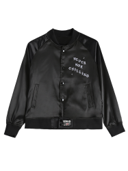Stand Neck Letter Print Single-Breasted Bomber Jacket -