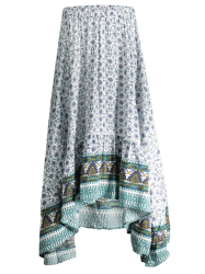 Bohemian Patterned High Low Maxi Skirt - WHITE