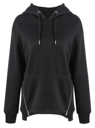 Zippered String Loose Hoodie -