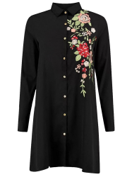 Floral Long Sleeve Embroidered Polo Shirt Dress - BLACK S
