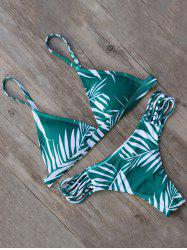 Leaf Print Strappy Bikini Set
