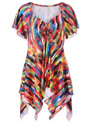 Asymmetrical Plus Size Tie-Dye T-Shirt