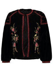 Puffed Sleeve Embroidered Velvet Jacket