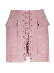 Faux Suede Mini Skirt With Pockets - PINK M