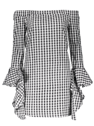 Off Shoulder Checked Dress - PLAID XL