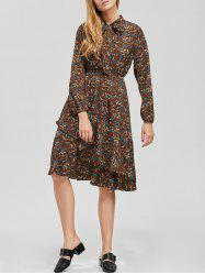 Bowtie Chiffon Floral Shirt Dress