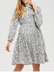 Long Sleeve Elastic Waist Chiffon Tiny Floral Pleated Dress