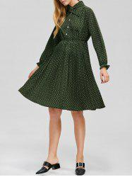 Elastic Waist Polka Dot Pleated Dress