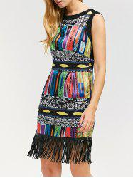 Sleeveless Fringed Mini Dashiki Flapper Dress