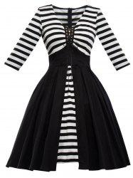 Retro Lace Up Stripe Flare Dress