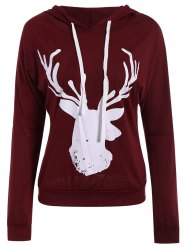 Christmas Hooded Long Sleeve Deer Pattern Hoodie For Women