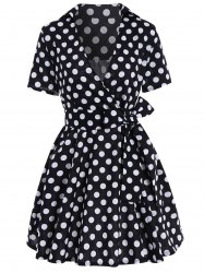 Polka Dot Short Sleeve Ball Wrap Dress