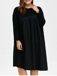 Plus Size Long Sleeve Pleated Shift Dress