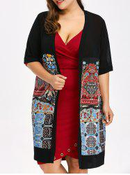 Plus Size Open Front Print Coat - BLACK