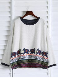 Oversized Sweatshirt - WHITE ONE SIZE