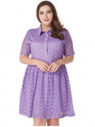 Plus Size Lace A Line Shirt Dress