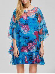 Flounced Floral Chiffon Dress With Cami Dress