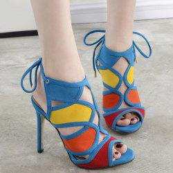Stiletto Heel Color Block Sandals