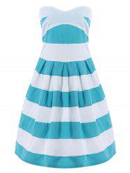 Strapless Striped Color Block Sleeveless Homecoming Dress - BLUE AND WHITE