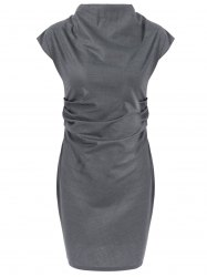 Pencil Cap Sleeve Ruched Dress - GRAY