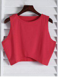 Stylish Round Collar Sleeveless Black Women's Crop Top