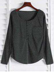 Stylish V-Neck Long Sleeve Button Pocket Design Women's T-Shirt