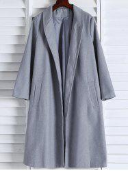 Shawl Neck Gray Wool Blend Coat - GRAY