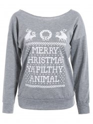 Merry Christmas Print Skew Neck Pullover Sweatshirt -