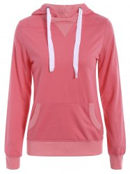 Simple Hooded Long Sleeve Pocket Design Women's Hoodie - WATERMELON RED