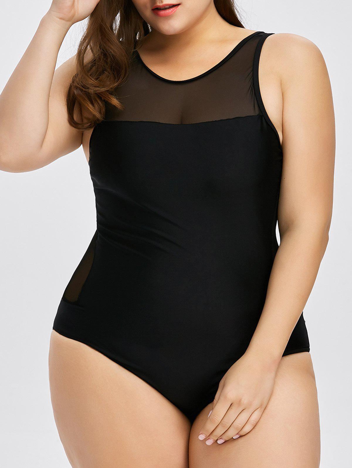 Plus Size Mesh Insert Racerback One Piece SwimwearWOMEN<br><br>Size: XL; Color: BLACK; Gender: For Women; Swimwear Type: One Piece; Material: Polyester; Bra Style: One-piece; Support Type: Wire Free; Pattern Type: Solid; Waist: Natural; Elasticity: Elastic; Weight: 0.4100kg; Package Contents: 1 x Swimwear;