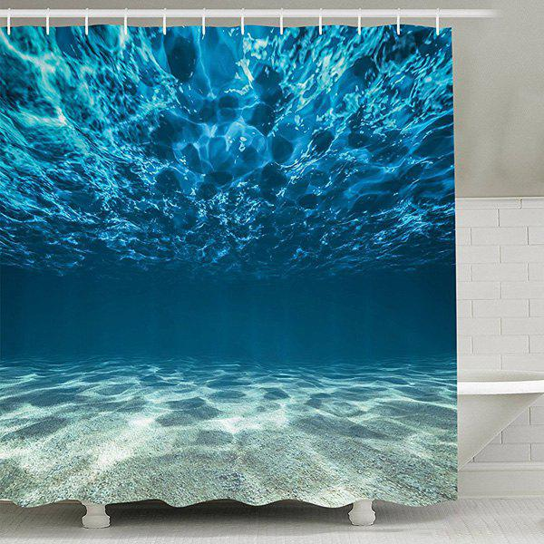 Sea World Print Waterproof Mouldproof Shower CurtainHOME<br><br>Size: 150CM*180CM; Color: LAKE BLUE; Type: Shower Curtains; Material: Polyester; Size(L*W)(CM): 150*180; Weight: 0.540kg; Package Contents: 1 x Shower Curtain +1 x Hooks Set?12Pcs?;