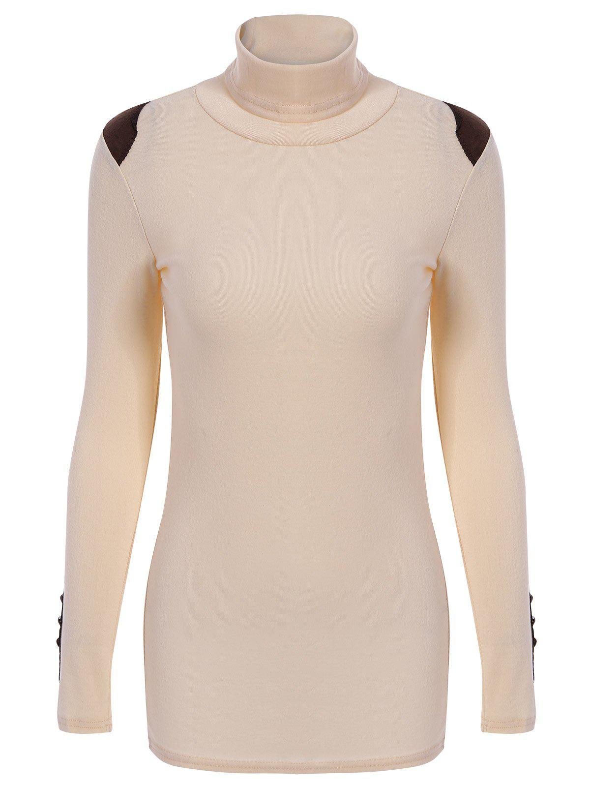 Casual Style Turtle Neck Solid Color Bead Splicing Long Sleeve Sweater For WomenWOMEN<br><br>Size: ONE SIZE; Color: LIGHT APRICOT; Type: Pullovers; Material: Cotton; Sleeve Length: Full; Collar: Turtleneck; Style: Casual; Pattern Type: Patchwork; Season: Fall,Spring; Weight: 0.260kg; Package Contents: 1 ? Sweater;
