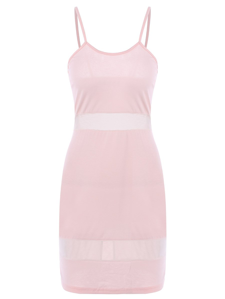 Chic Sexy Spaghetti Strap Candy Color Dress For Women