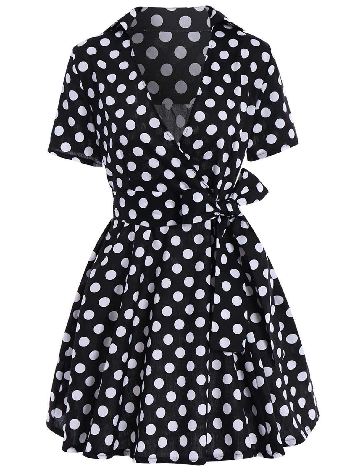 Chic Belted Polka Dot Short Sleeve Wrap Dress