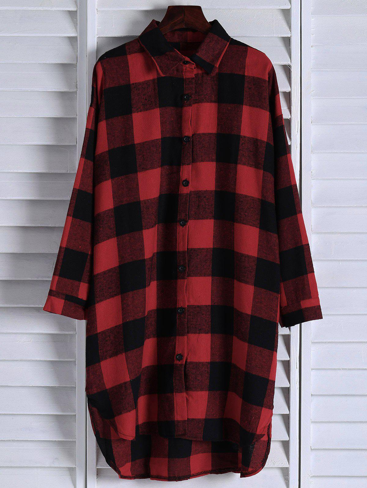 Affordable Stylish Turn-Down Collar Long Sleeve Plaid Single-Breasted Women's Long Shirt