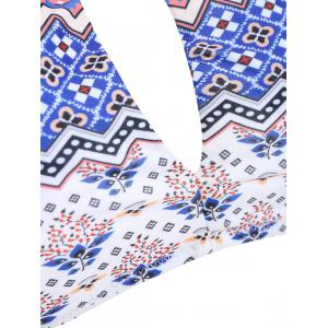 Stylish Color Block Print Cut Out Two-Piece Swimwear For Women -