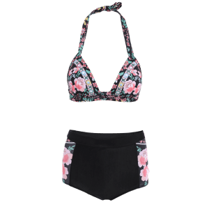Floral High Waisted Bikini with Push Up Top -