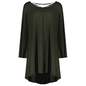 Plus Size Flare Sleeve Lace-Up High Low Dress - OLIVE GREEN XL