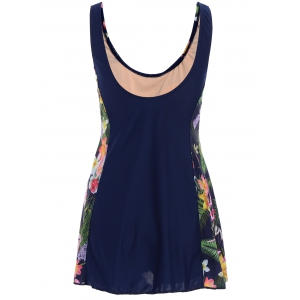 Floral Print Skirted Plus Size One Piece Swimwear -